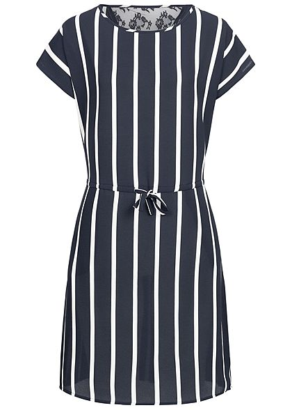 ONLY Damen Striped Dress Lace Detail night sky blau weiss