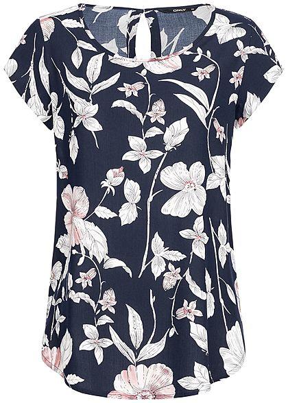 7b3b111a6432bb ONLY Damen Shirt Flower Print night sky navy blau weiss rosa - 77onlineshop