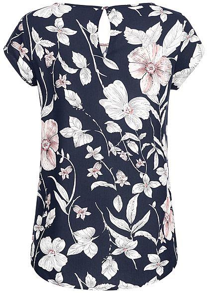 ONLY Damen Shirt Flower Print night sky navy blau weiss rosa