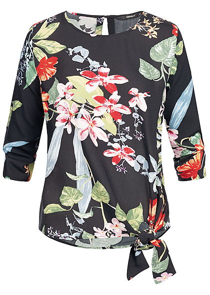 ONLY Damen 3/4 Sleeves Tie-Knot Shirt Tropical Flower Print schwarz multicolor