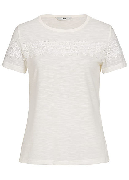 ONLY Damen Crochet T-Shirt cloud dancer weiss