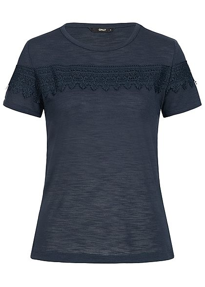 ONLY Damen Crochet T-Shirt night sky blau