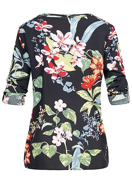 ONLY Damen Turn-Up Placket Blouse Tropical Flower Print schwarz multicolor