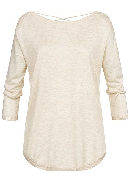 ONLY Damen 3/4 Sleeves Shirt Back Side String pumice stone beige