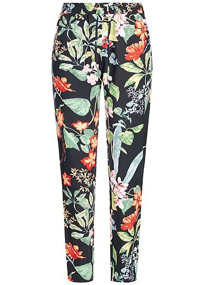 ONLY Damen Tropical Flower Print Pants 2-Pockets schwarz multicolor