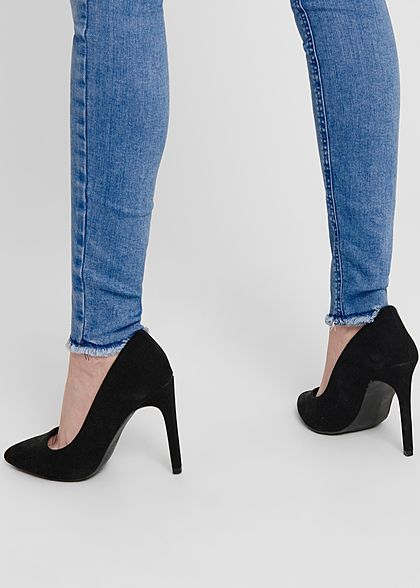ONLY Damen NOOS Ankle Skinny Jeans Hose 5-Pockets Crash Optik hell blau denim