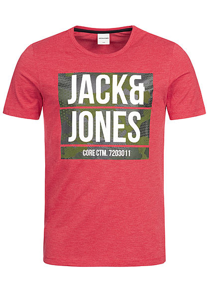 Jack and Jones Herren T-Shirt Flockprint tango rot grün