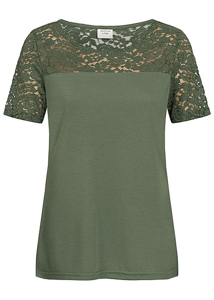 JDY by ONLY Damen Lace T-Shirt thyme grün