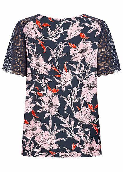 JDY by ONLY Damen Lace Shirt Flower Print sky captain blau