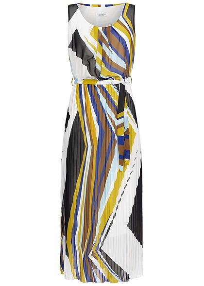 Zabaione Damen Pleated Stripes Dress weiss multicolor