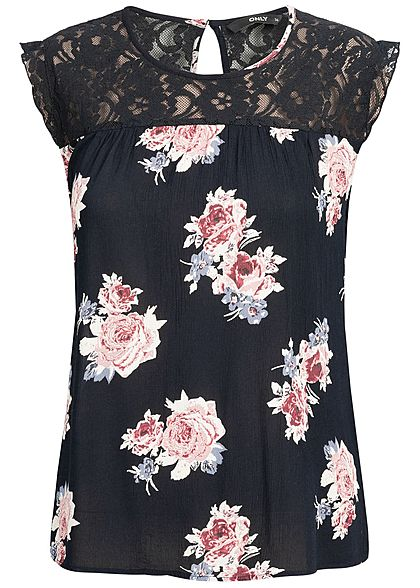 ONLY Damen Lace Top Flower Print NOOS night sky blau rosa