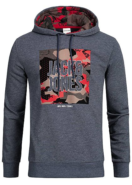 the latest 488f1 57c66 Jack and Jones Herren Hoodie Flockprint maritim blau rot