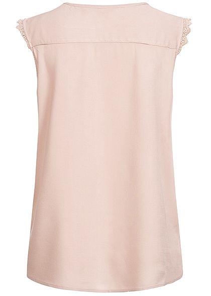 ONLY Damen NOOS V-Neck Bluse Häkelbesatz adobe rosa
