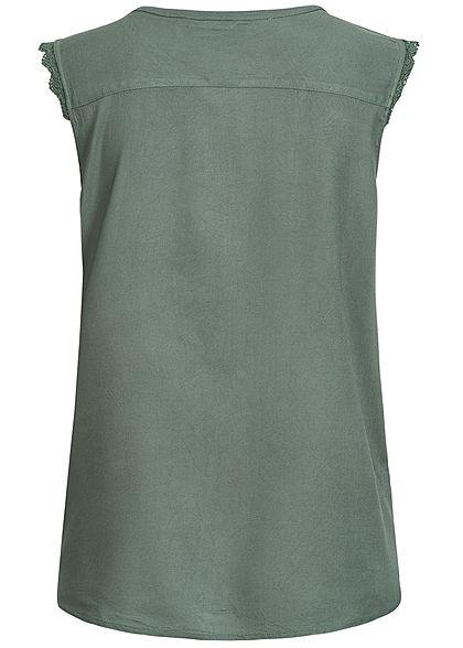 ONLY Damen NOOS V-Neck Bluse Häkelbesatz balsam grün