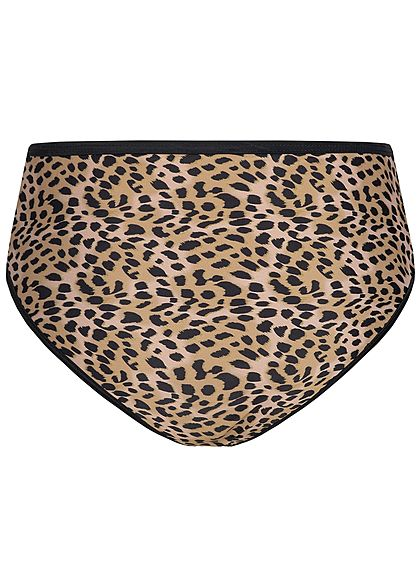 Hailys Damen High-Waist Bikini Slip Leo Print braun schwarz