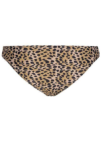 Hailys Damen Bikini Slip Leo Print braun schwarz