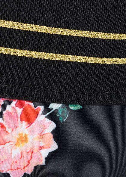 Hailys Damen Bikini Slip Striped Flower Print schwarz rosa gold