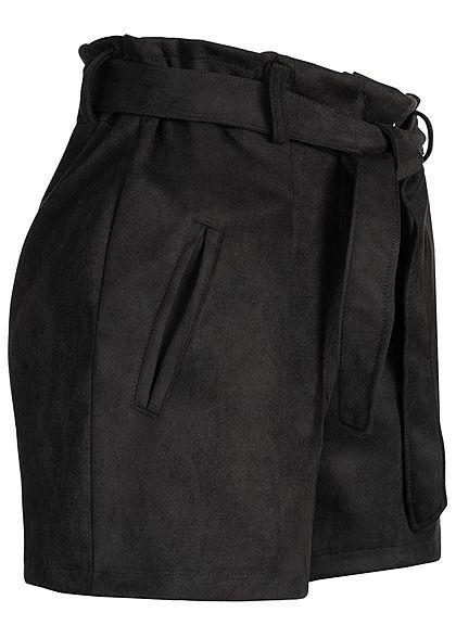Hailys Damen Velour Paper-Bag Belt Shorts schwarz