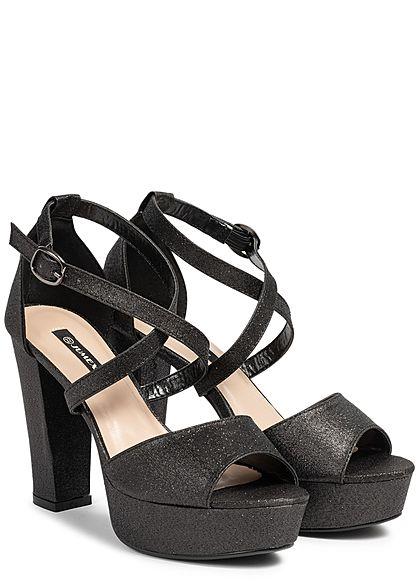 Seventyseven Lifestyle Damen Strap High Heel Sandals Glitter Allover schwarz silber