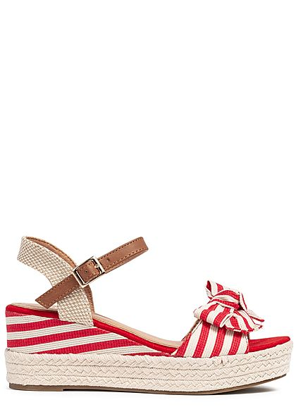 Seventyseven Lifestyle Damen Buckle Wedges Bow Sandals Stripes rot beige