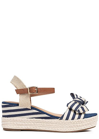 Seventyseven Lifestyle Damen Buckle Wedges Bow Sandals Stripes blau beige
