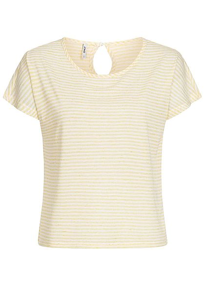 ONLY Damen Striped Shirt popcorn gelb weiss