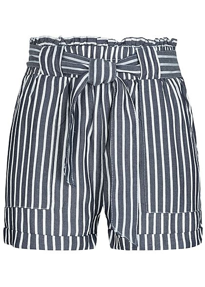 ONLY Damen Striped Paper-Bag Shorts Belt 2-Pockets blau weiss