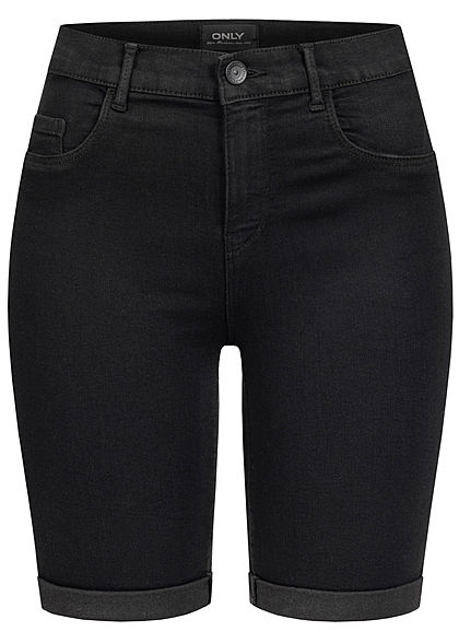 ONLY Damen Long Shorts 3-Pockets schwarz denim