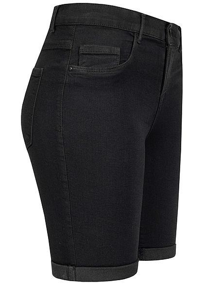 ONLY Damen NOOS Long Shorts 5-Pockets Mid-Waist Beinumschlag schwarz denim