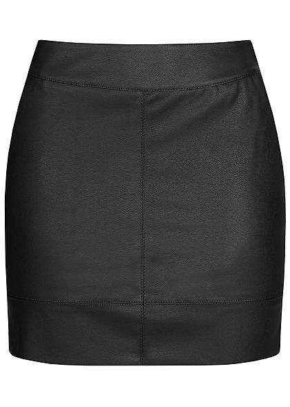 ONLY Damen Fake Leather Skirt Zipper 2-Pockets NOOS schwarz