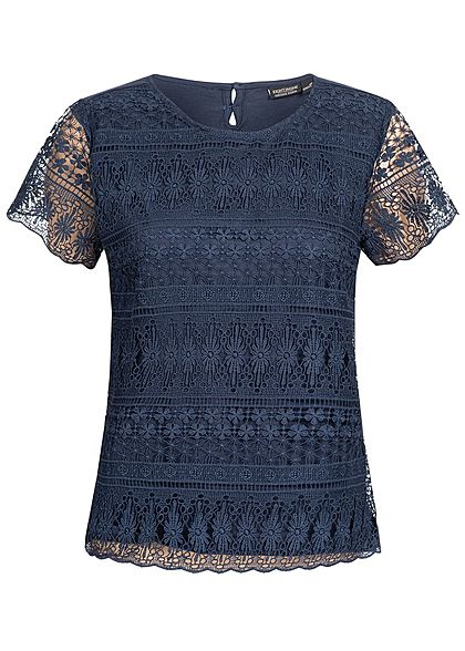 Eight2Nine Damen 2-Layer Crochet T-Shirt dunkel blau
