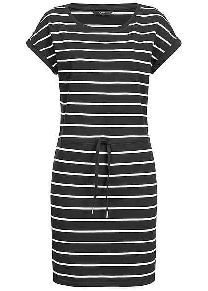 ONLY Damen Striped T-Shirt Dress NOOS schwarz weiss