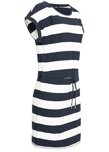 ONLY Damen NOOS Kleid Taillengummibund Streifen cloud dancer weiss navy blau