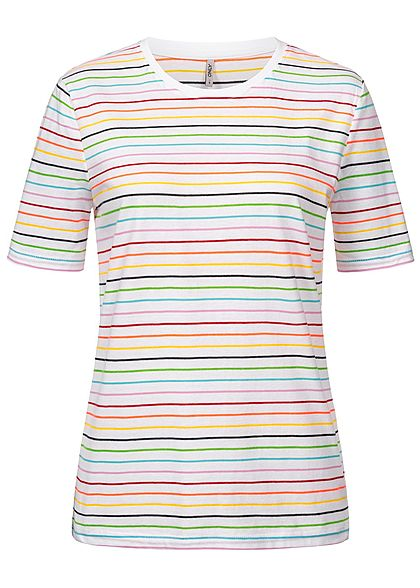 ONLY Damen T-Shirt Neon Stripes Print bright weiss multicolor