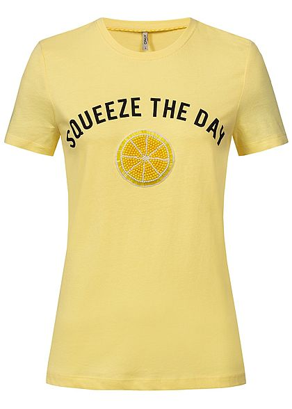 ONLY Damen T-Shirt Squeeze The Day Patch popcorn gelb schwarz
