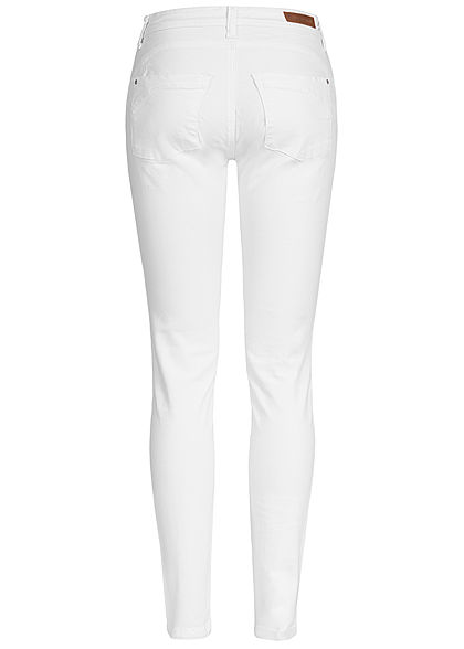 JDY by ONLY Damen Push-Up Skinny Jeans 2-Pockets Regular Waist weiss denim
