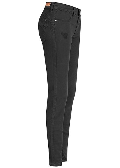 JDY by ONLY Damen Push-Up Skinny Jeans 2-Pockets Regular Waist schwarz denim