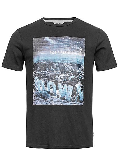 ONLY & SONS Mens T-Shirt Frontprint phantom schwarz