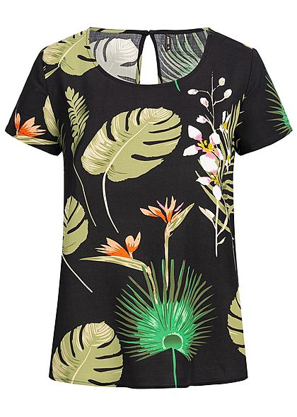 ONLY Damen Blouse Shirt Tropical Print NOOS schwarz grün