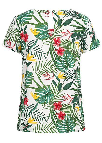 ONLY Damen Blouse Shirt Tropical Print NOOS cloud dancer weiss grün