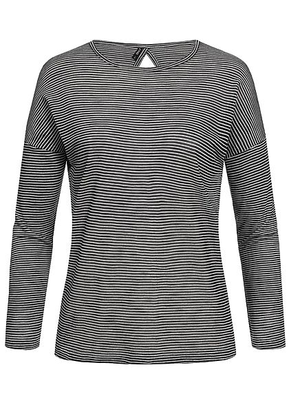 ONLY Damen Striped Longsleeve phantom schwarz weiss