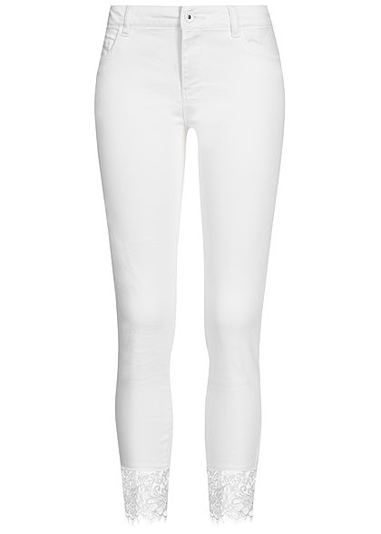 ONLY Damen Ankle Skinny Jeans Lace Detail 2-Pockets Regular Waist weiss denim