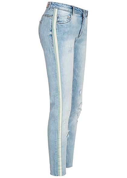 ONLY Damen Ankle Skinny Jeans Contrasting Stripes Destroy Look 5-Pockets hell blau denim