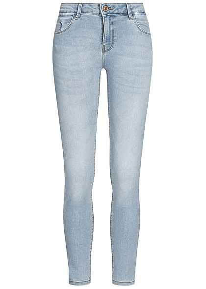ONLY Damen Ankle Skinny Jeans Push-Up 5-Pockets Regular Waist hell blau denim