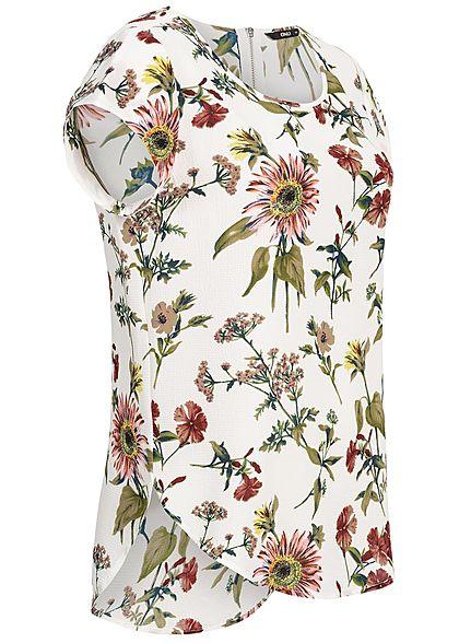 ONLY Damen Blouse Shirt Zipper Flower Print NOOS cloud dancer weiss grün