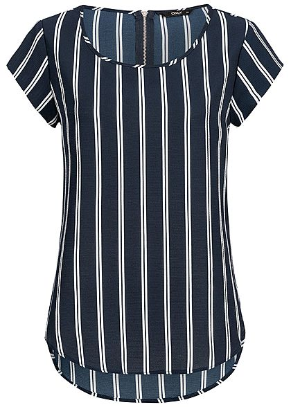 ONLY Damen Blouse Shirt Zipper Stripped Print NOOS night sky navy blau weiss