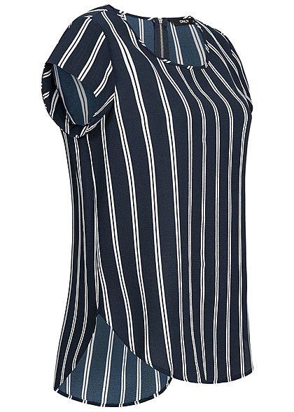 ONLY Damen Blouse Shirt Zipper Stripped Print NOOS night sky navy blau weiss