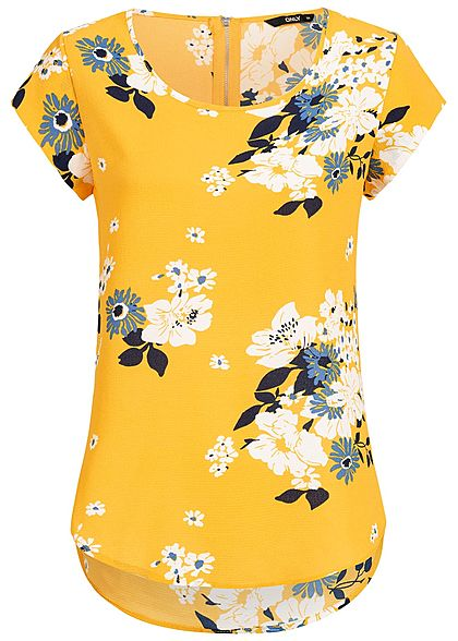 ONLY Damen Blouse Shirt Zipper Flower Print NOOS vibrant gelb blau weiss