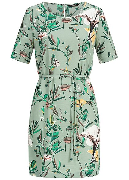 ONLY Damen Loose Fit Dress Belt Tropical Print NOOS granite grün