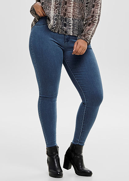 ONLY Carmakoma Damen Curvy Push-Up Skinny Jeans 3-Pockets High Waist NOOS med blau denim
